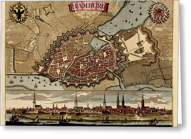 Antique Map Of Hamburg Germany By Pieter Schenk - Circa 1702 Greeting Card by Blue Monocle