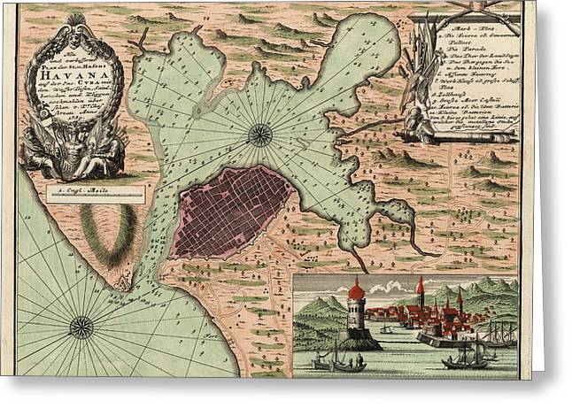 Havana Greeting Cards - Antique Map of Havana Cuba by Jacques Nicolas Bellin - 1739 Greeting Card by Blue Monocle