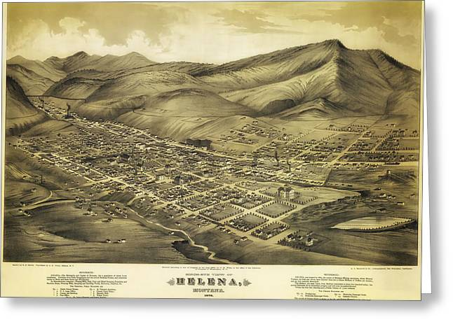 Mountain Road Drawings Greeting Cards - Antique Map of Helena Montana 1875 Greeting Card by Mountain Dreams
