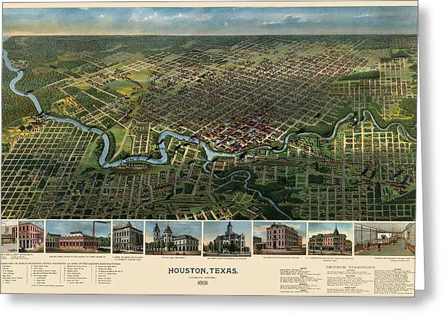 Texas A And M Drawings Greeting Cards - Antique Map of Houston Texas - 1891 Greeting Card by Blue Monocle