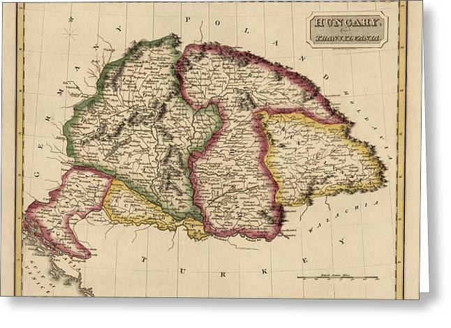 Hungary Greeting Cards - Antique Map of Hungary by Fielding Lucas - circa 1817 Greeting Card by Blue Monocle