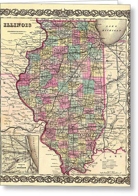 Universities Drawings Greeting Cards - Antique Map of Illinois 1855 Greeting Card by Mountain Dreams