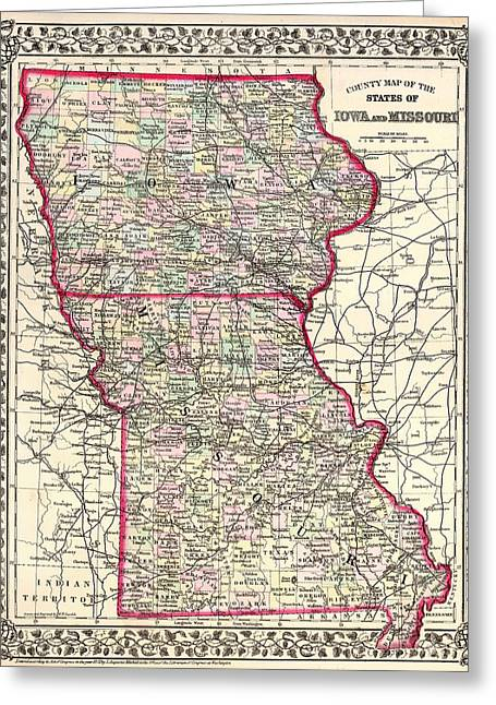 1874 Drawings Greeting Cards - Antique Map of Iowa and Missouri 1874 Greeting Card by Mountain Dreams