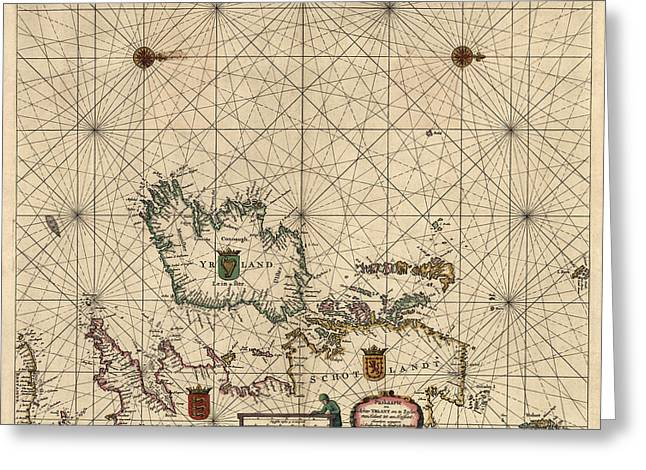 Great Drawings Greeting Cards - Antique Map of Ireland and Great Britain by Hendrick Doncker - 1658 Greeting Card by Blue Monocle