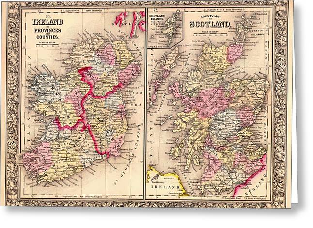 Old Country Roads Drawings Greeting Cards - Antique Map of Ireland and Scotland 1864 Greeting Card by Mountain Dreams