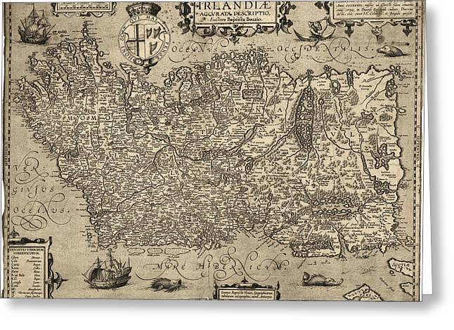 Map Of Ireland Greeting Cards - Antique Map of Ireland by Baptista Boazio - 1606 Greeting Card by Blue Monocle