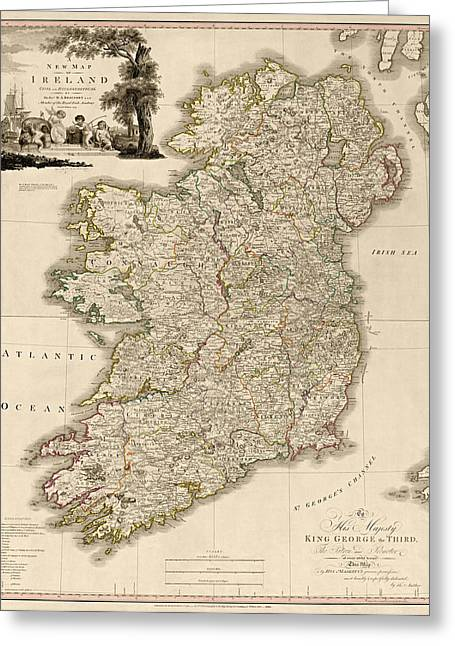 Augustus Greeting Cards - Antique Map of Ireland by Daniel Augustus Beaufort - 1797 Greeting Card by Blue Monocle