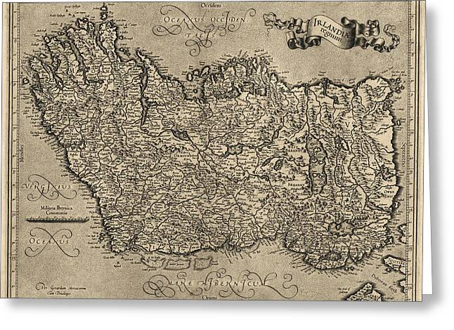 Map Of Ireland Greeting Cards - Antique Map of Ireland by Gerardus Mercator - circa 1600 Greeting Card by Blue Monocle