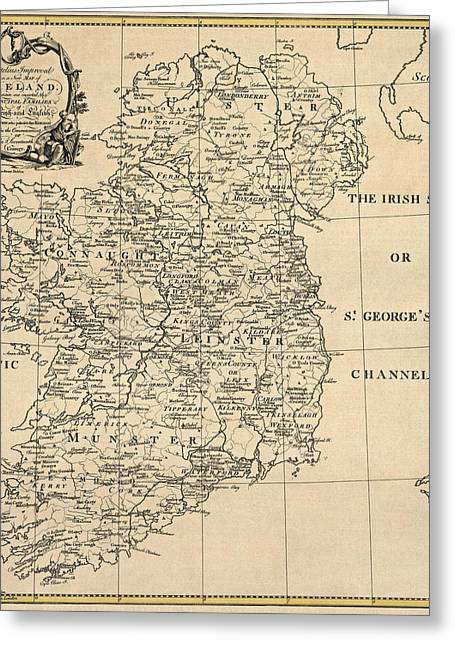 Map Of Ireland Greeting Cards - Antique Map of Ireland by S. Thompson - circa 1795 Greeting Card by Blue Monocle