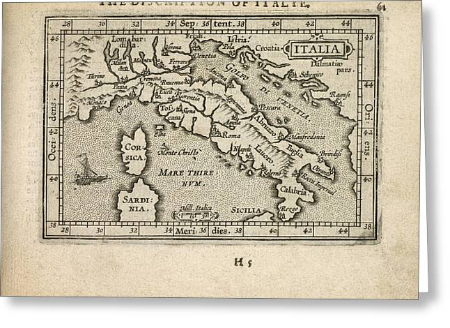 Antique Map Of Italy By Abraham Ortelius - 1603 Greeting Card by Blue Monocle