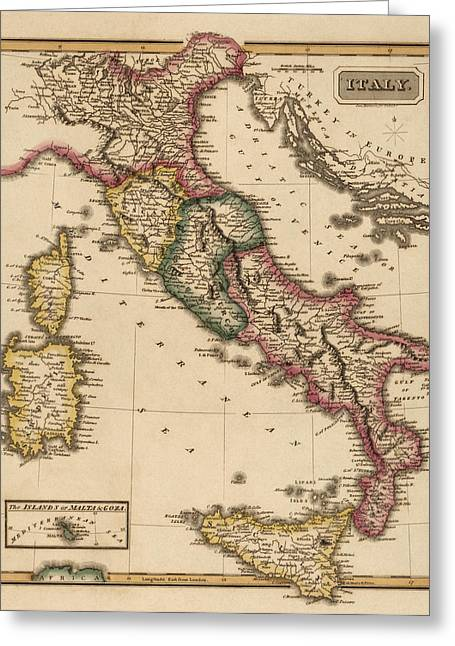 Italy Art Greeting Cards - Antique Map of Italy by Fielding Lucas - circa 1817 Greeting Card by Blue Monocle