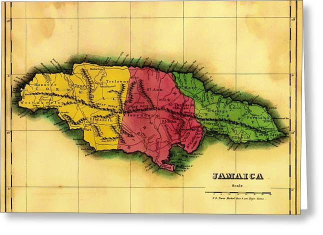 Tropical Island Drawings Greeting Cards - Antique Map of Jamaica 1822 Greeting Card by Mountain Dreams