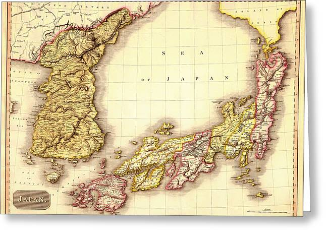 Old Country Roads Drawings Greeting Cards - Antique Map of Japan and Korea 1809 Greeting Card by Mountain Dreams
