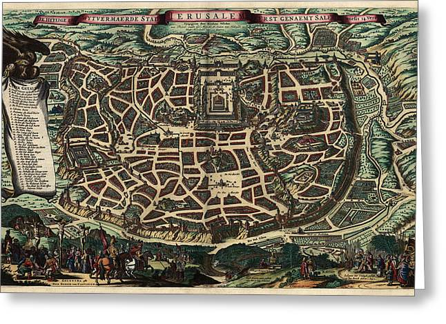 Holy Land Art Greeting Cards - Antique Map of Jerusalem by Nicolaes Visscher - circa 1660 Greeting Card by Blue Monocle