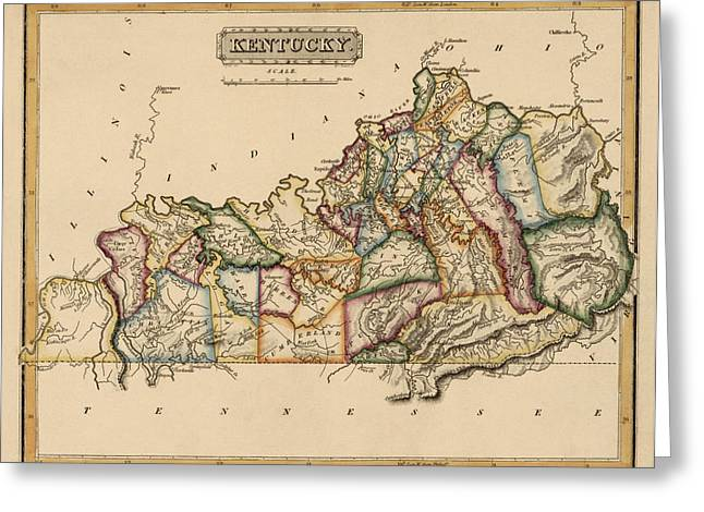 Kentucky Greeting Cards - Antique Map of Kentucky by Fielding Lucas - circa 1817 Greeting Card by Blue Monocle