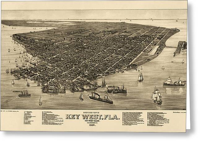 Key West Greeting Cards - Antique Map of Key West Florida by J.J. Stoner - 1884 Greeting Card by Blue Monocle