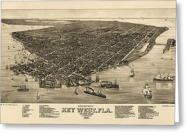 View Drawings Greeting Cards - Antique Map of Key West Florida by J. J. Stoner - 1884 Greeting Card by Blue Monocle