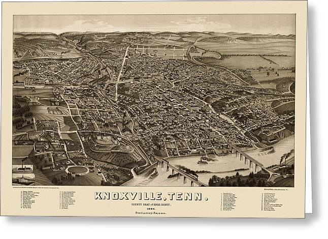 Tennessee Drawings Greeting Cards - Antique Map of Knoxville Tennessee by H. Wellge - 1886 Greeting Card by Blue Monocle