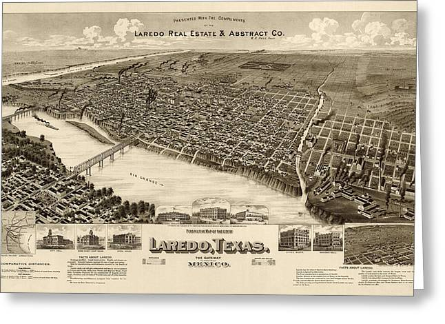 Universities Drawings Greeting Cards - Antique Map of Laredo Texas - circa 1892 Greeting Card by Blue Monocle