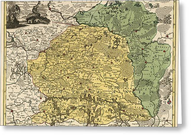 Lithuania Greeting Cards - Antique Map of Lithuania and Belarus by Tobias Conrad Lotter - circa 1770 Greeting Card by Blue Monocle