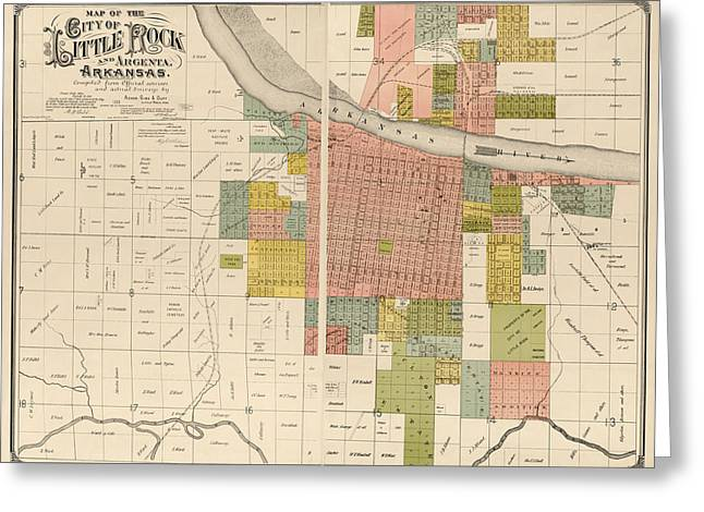 Antique Map of Little Rock Arkansas by Gibb and Duff Rickon - 1888 Greeting Card by Blue Monocle