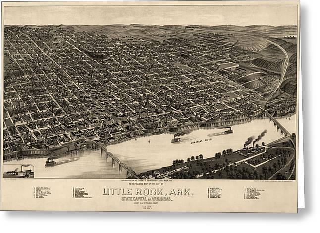 Rocks Drawings Greeting Cards - Antique Map of Little Rock Arkansas by H. Wellge - 1887 Greeting Card by Blue Monocle