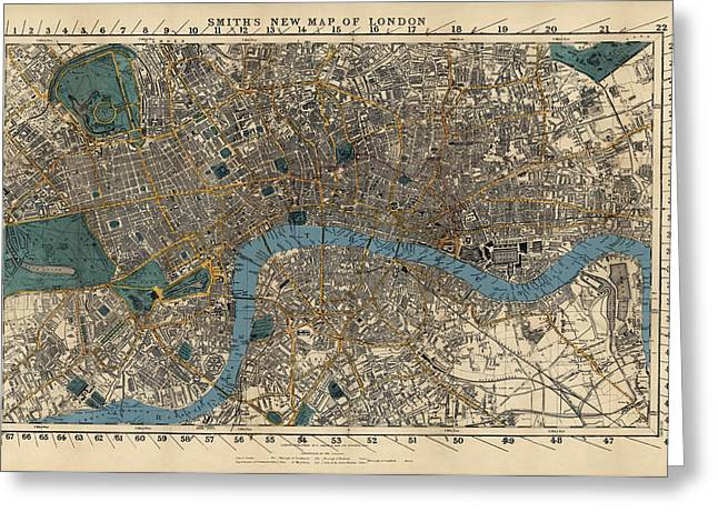 London Map Greeting Cards - Antique Map of London by C. Smith and Son - 1860 Greeting Card by Blue Monocle