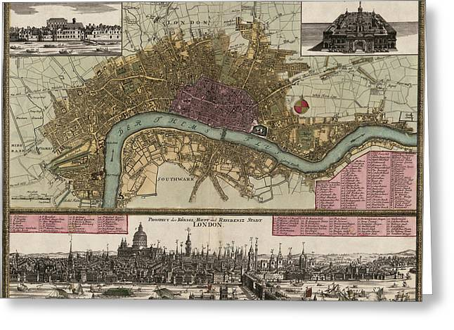 London Map Greeting Cards - Antique Map of London England by Johann Baptist Homann - circa 1750 Greeting Card by Blue Monocle