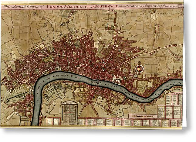 Roberts Drawings Greeting Cards - Antique Map of London England by Robert Morden - 1700 Greeting Card by Blue Monocle