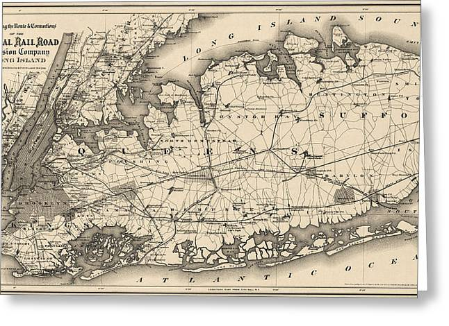 Long Island New York Greeting Cards - Antique Map of Long Island and New York City - 1873 Greeting Card by Blue Monocle