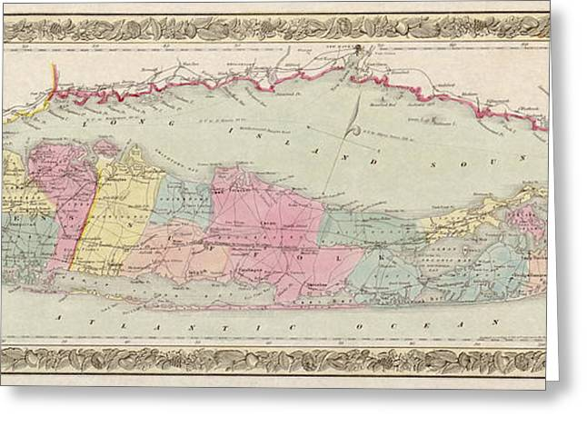 Long Greeting Cards - Antique Map of Long Island by J.H. Colton and Co. - 1857 Greeting Card by Blue Monocle