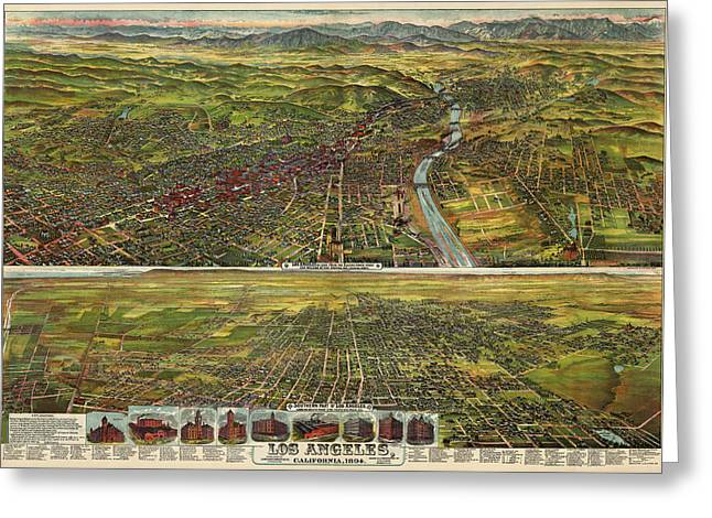 Los Angeles Drawings Greeting Cards - Antique Map of Los Angeles California by B.W. Pierce - 1894 Greeting Card by Blue Monocle