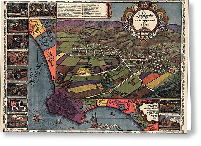 Los Angeles Drawings Greeting Cards - Antique Map of Los Angeles California by Gores - 1929 Greeting Card by Blue Monocle