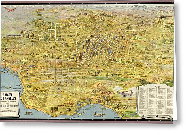 Los Angeles Drawings Greeting Cards - Antique Map of Los Angeles California by K. M. Leuschner - 1932 Greeting Card by Blue Monocle