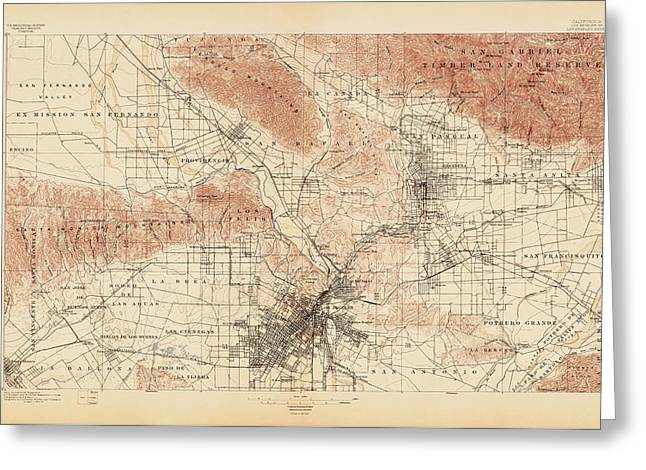Los Angeles Drawings Greeting Cards - Antique Map of Los Angeles - USGS Topographic Map - 1897 Greeting Card by Blue Monocle