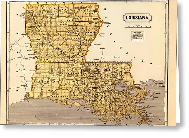 Featured Drawings Greeting Cards - Antique Map of Louisiana 1845 Greeting Card by Mountain Dreams