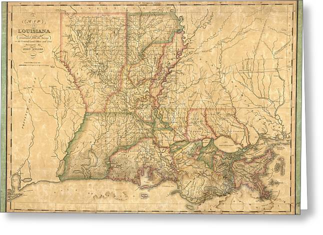 Antique Map Of Louisiana By John Melish - 1820 Greeting Card by Blue Monocle