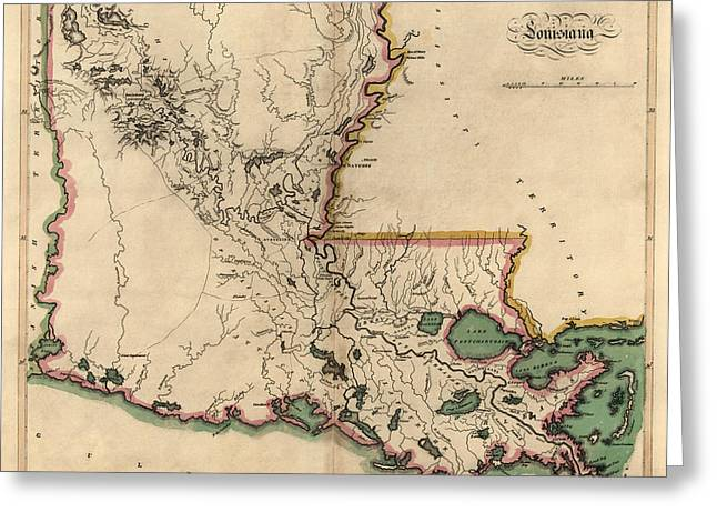 Mathew Greeting Cards - Antique Map of Louisiana by Mathew Carey - 1814 Greeting Card by Blue Monocle