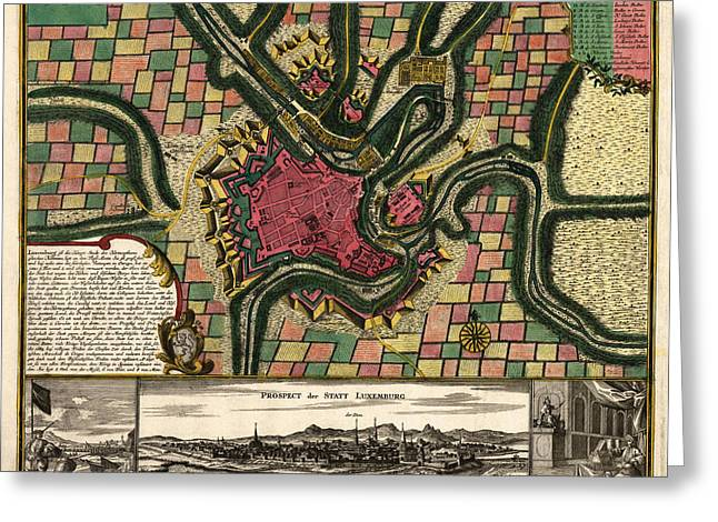 Luxembourg Greeting Cards - Antique Map of Luxembourg City by Matthaeus Seutter - circa 1730 Greeting Card by Blue Monocle