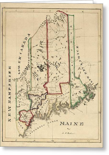 Maine Greeting Cards - Antique Map of Maine by A. T. Perkins - circa 1820 Greeting Card by Blue Monocle