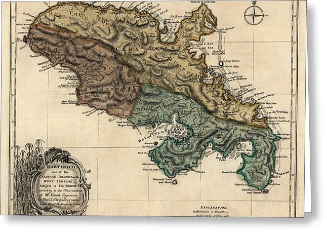 Thomas Drawings Greeting Cards - Antique Map of Martinique by Thomas Jefferys - 1768 Greeting Card by Blue Monocle