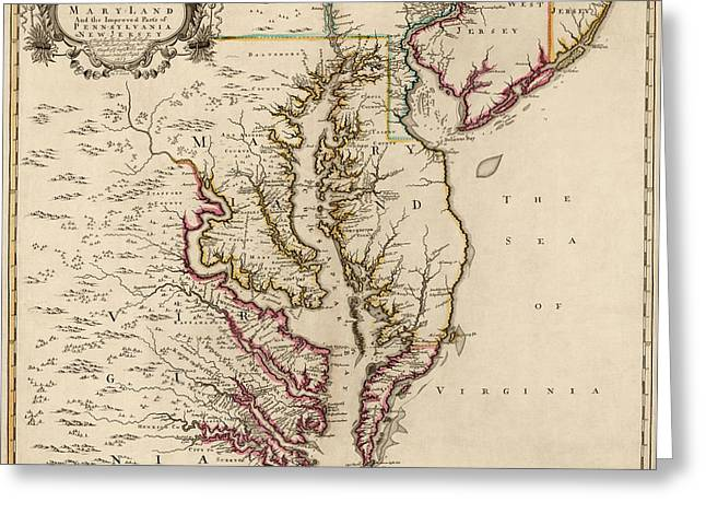 America Drawings Greeting Cards - Antique Map of Maryland and Virginia by John Senex - 1719 Greeting Card by Blue Monocle