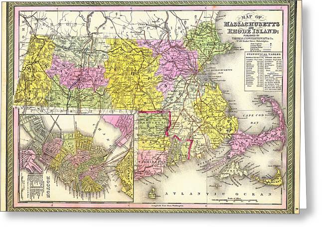 Rhode Island State Map Greeting Cards - Antique Map of Massachusetts and Rhode Island 1850  Greeting Card by Mountain Dreams