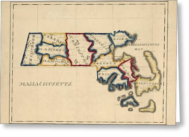 England Map Greeting Cards - Antique Map of Massachusetts by A. T. Perkins - circa 1820 Greeting Card by Blue Monocle