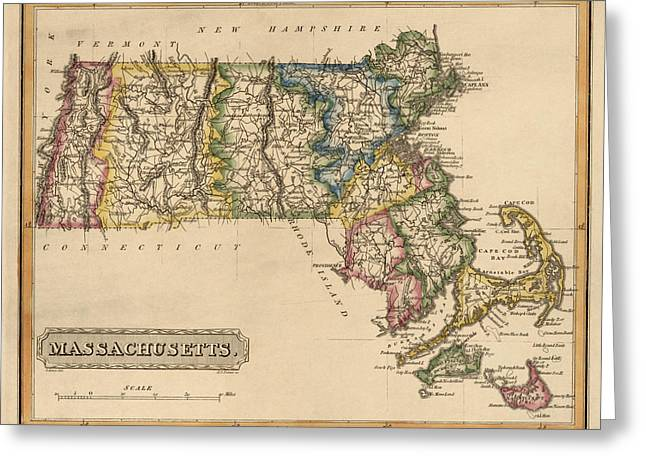Massachusetts Greeting Cards - Antique Map of Massachusetts by Fielding Lucas - circa 1817 Greeting Card by Blue Monocle