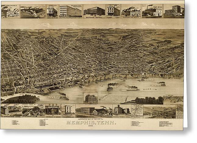 Tennessee Drawings Greeting Cards - Antique Map of Memphis Tennessee by H. Wellge - 1887 Greeting Card by Blue Monocle