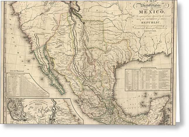 Henry Greeting Cards - Antique Map of Mexico by Henry Schenck Tanner - 1826 Greeting Card by Blue Monocle