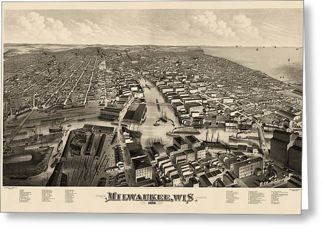 View Drawings Greeting Cards - Antique Map of Milwaukee Wisconsin by J.J. Stoner - 1879 Greeting Card by Blue Monocle