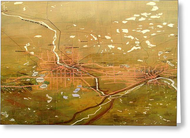 Antique Map Of Minneapolis And St Paul 1904 Greeting Card by Mountain Dreams