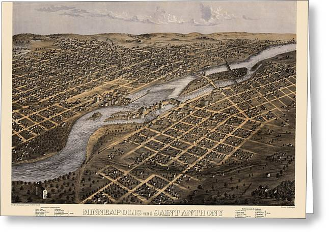 Minneapolis Greeting Cards - Antique Map of Minneapolis Minnesota by A. Ruger - 1867 Greeting Card by Blue Monocle